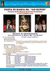 Manifesto - Festa della Madonna ad Rupes - 12 settembre 2016